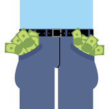Pockets many money. Jeans full of cash.  Stock Images