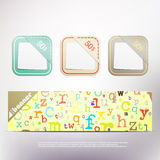 With pockets. New modern banner with alphabet letters pattern and pockets. vector web design elements Stock Images