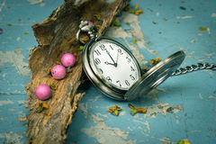 Pocketwatch with dry wood Stock Photography
