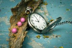 Pocketwatch med torrt trä Arkivbild