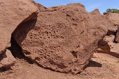 Pockmarked Sandstone in the Desert Stock Photography