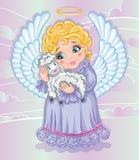 Poco ángel y ovejas lindos Imagenes de archivo