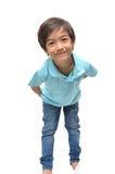 Poco 6 años del muchacho de la mezcla de sonrisa del retrato Foto de archivo libre de regalías