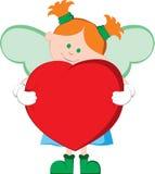 Poco angelo che abbraccia un cuore Fotografie Stock
