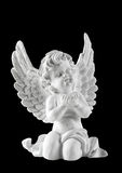 Poco angelo custode bianco isolato su fondo nero Fotografie Stock Libere da Diritti