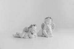Poco angelo di sonno su fondo bianco, in bianco e nero Fotografia Stock Libera da Diritti