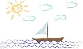 Poco barco bajo un sol Foto de archivo