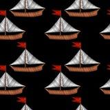 Poco barco con bordado azul de la onda cose la imitación en blac stock de ilustración