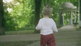 Poco bebé rubio camina en el parque en un día de verano metrajes