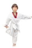 Poco calentamiento del arte marcial del muchacho del Taekwondo Fotografía de archivo libre de regalías