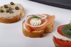 Poco canapes con el atún y alcaparra, tomate y mozarella, salmones y cebollas foto de archivo libre de regalías
