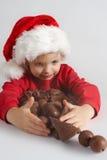 Poco cioccolato Santa Immagini Stock