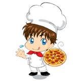 Poco cocinero - pizza para la web de empaquetado del menú de la mascota ilustración del vector
