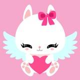 Poco conejito blanco lindo con las alas y el corazón del ángel Rose roja Tarjeta de felicitación Carácter de los niños Foto de archivo libre de regalías