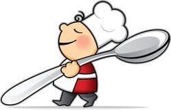 Poco cuoco del fumetto con il cucchiaio molto grande Fotografia Stock Libera da Diritti