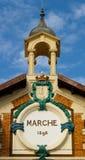 Poco detalle de la torre del mercado de Menton Imagen de archivo libre de regalías