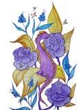 Poco dragón púrpura que se sienta en flores ilustración del vector