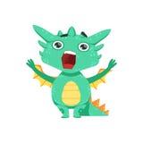 Poco ejemplo de Emoji del carácter de Dragon Shouting And Screaming Cartoon del bebé del estilo del animado Foto de archivo libre de regalías
