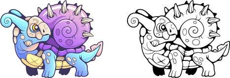 Poco ejemplo divertido del dragón lindo del caracol stock de ilustración
