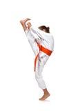 Poco entrenamiento de la muchacha del karate Imagenes de archivo