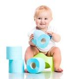 Poco fare da baby-sitter su un vaso Immagini Stock Libere da Diritti