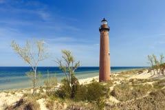 Poco faro del punto del nero in dune, costruite nel 1867 Fotografia Stock