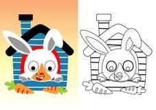 Poco fumetto del coniglio con le carote illustrazione vettoriale