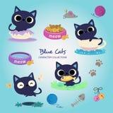 Poco gatos azules ilustración del vector