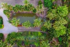 Poco giardino, vista aerea, Ratchaburi immagine stock