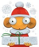 Poco gnome che dà un regalo di Natale Fotografia Stock