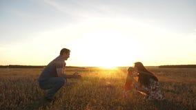 Poco hija va de papá a la mamá en el sol Familia joven feliz con el niño que camina en campo del verano Madre sana almacen de metraje de vídeo