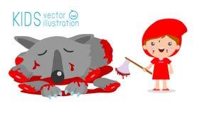 Poco Hood Kills The Wolf, Caperucita Rojo y lobo que montan rojos, Caperucita Rojo Imagen de archivo libre de regalías