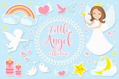 Poco juego de caracteres de la muchacha del ángel de objetos Colección de elemento con ángeles, cupido, nubes, corazones, palomas libre illustration