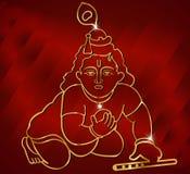 Poco Krishna con la flauto, materiale illustrativo indù di krishna del dio sul fondo rosso del raso royalty illustrazione gratis