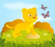 Poco león de la historieta con las mariposas Fotografía de archivo libre de regalías