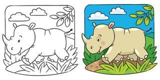 Poco libro de colorear del rinoceronte Fotos de archivo libres de regalías