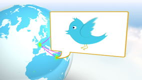 Poco localizzazione con la rete sociale nel mondo stock footage