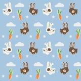 Poco modelo del cony con las zanahorias lindas stock de ilustración