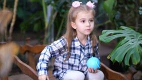 Poco, muchacha hermosa que juega en un jardín tropical En el primero plano, las mariposas se están sentando en una rama 4K MES le almacen de metraje de vídeo