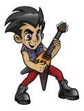 Poco muchacho del eje de balancín que toca una guitarra eléctrica Foto de archivo