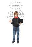 Poco muchacho del negocio con la tableta Fotos de archivo libres de regalías