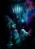 Poco nano della foresta in ciano blu e violett, illustrazione variopinta Immagine Stock