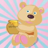 Poco oso de peluche con la miel Imagenes de archivo