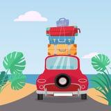 Poco paseos retros rojos del coche al mar con la pila de maletas en el tejado Ejemplo plano del vector de la historieta Opinión t libre illustration