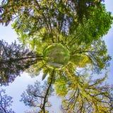 Poco pianeta 360 gradi sferici di vista senza cuciture di panorama nella S Immagine Stock Libera da Diritti