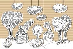 Poco pueblo del cartón Foto de archivo libre de regalías