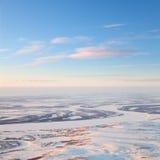 Poco pueblo en la tundra, visión superior Fotos de archivo