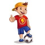 Poco ragazzo del fumetto con la palla Fotografie Stock Libere da Diritti