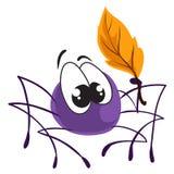 Poco ragno sveglio di vettore che si siede con l'autoadesivo di vettore della foglia di autunno illustrazione di stock