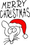 Poco ratón en un sombrero rojo de Santa Claus Feliz Navidad – poner letras a cita libre illustration